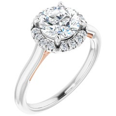 French Pave Halo Style Hidden Eternity GIA Certified Diamond Engagement Ring