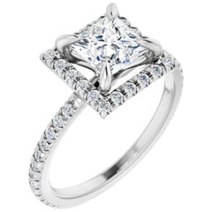 French Pave Halo Style Princess Cut GIA Certified Diamond Engagement Ring