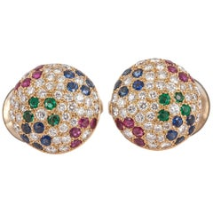 French Pave Ruby Sapphire Emerald Diamond Gold Button Earrings