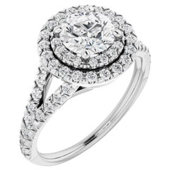 French Pave Split Shank Halo Style Round Brilliant GIA Certified Engagement Ring