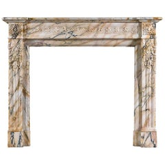 French Pavonazzo Marble Louis XVI Fireplace