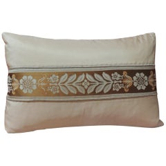 French Peach Silk Ribbon Lumbar Decorative Pillow