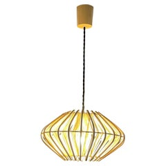 French Pendant Bamboo Rice Paper Bubble Lamp After Franco Albini France, 1960s