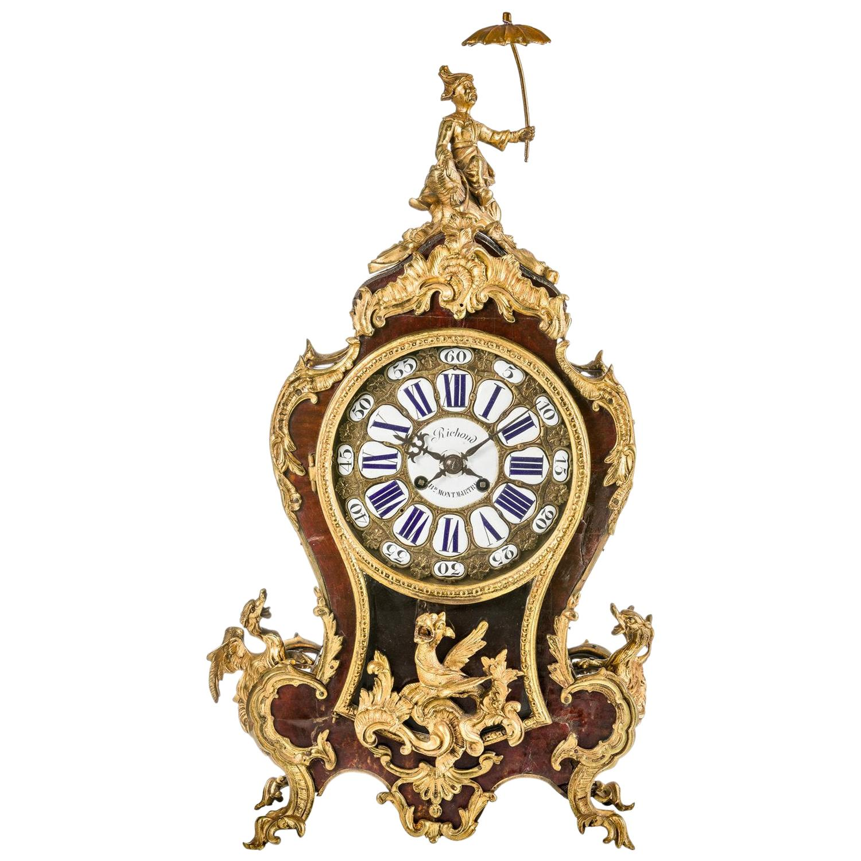 French Pendulum Clock / Mantel Clock, Boulle Style Paris, circa 1870