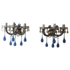 French Periwinkle Murano Glass Opaline Sconces, circa 1920