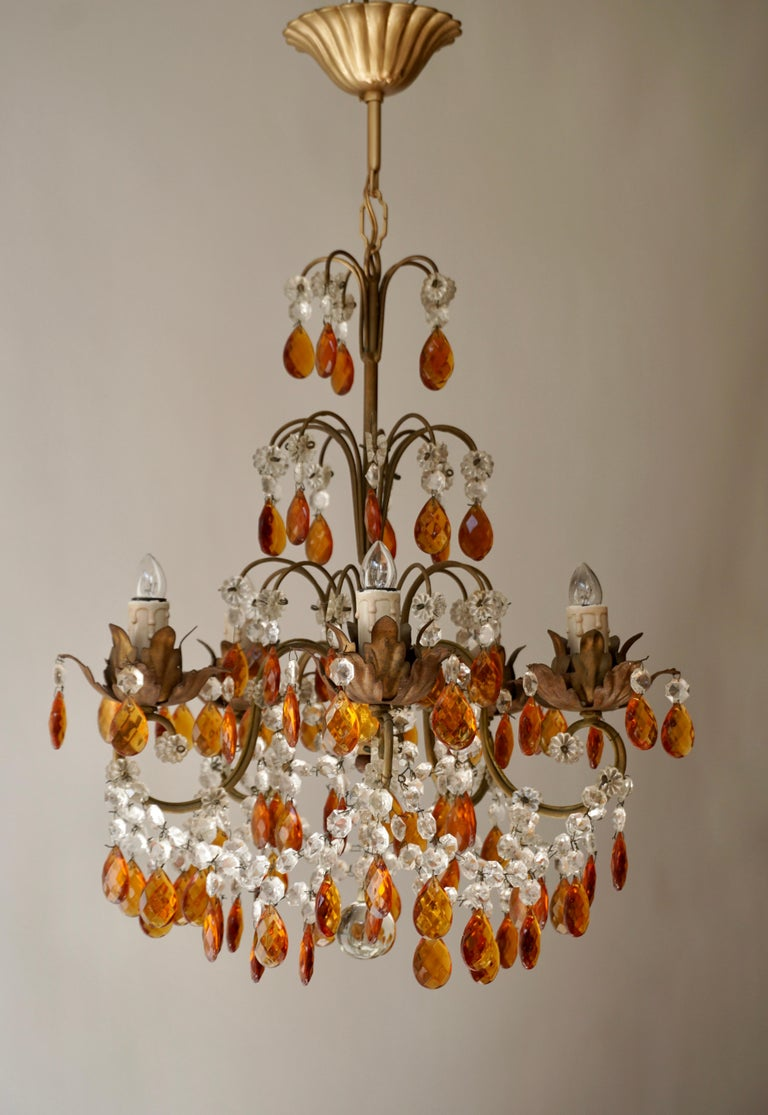 Elegant French midcentury cut crystal amber chandelier / pendant / flushmount by Baguès.
