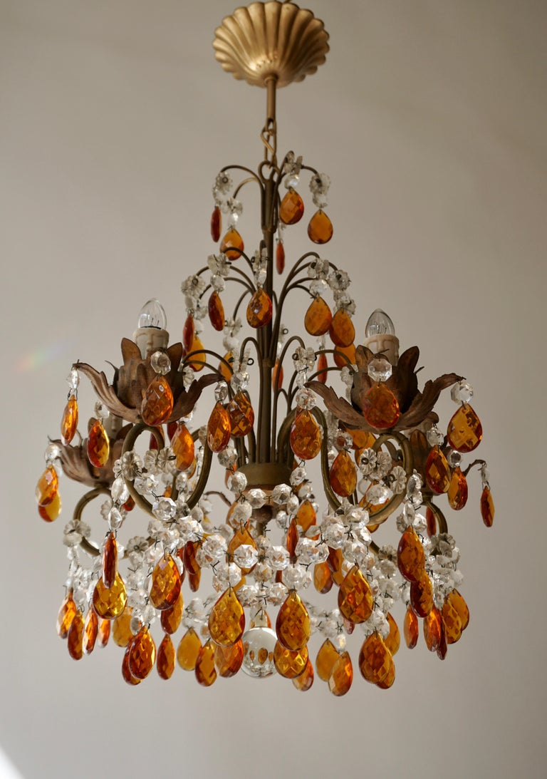 Hollywood Regency French Petit Amber and Crystal Beads Chandelier For Sale