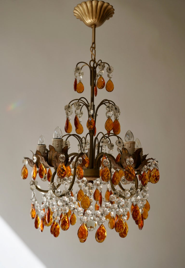 20th Century French Petit Amber and Crystal Beads Chandelier For Sale