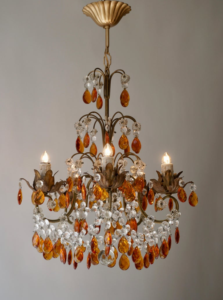 Brass French Petit Amber and Crystal Beads Chandelier For Sale