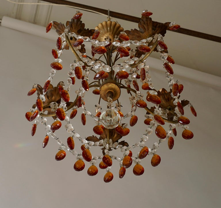 French Petit Amber and Crystal Beads Chandelier For Sale 1