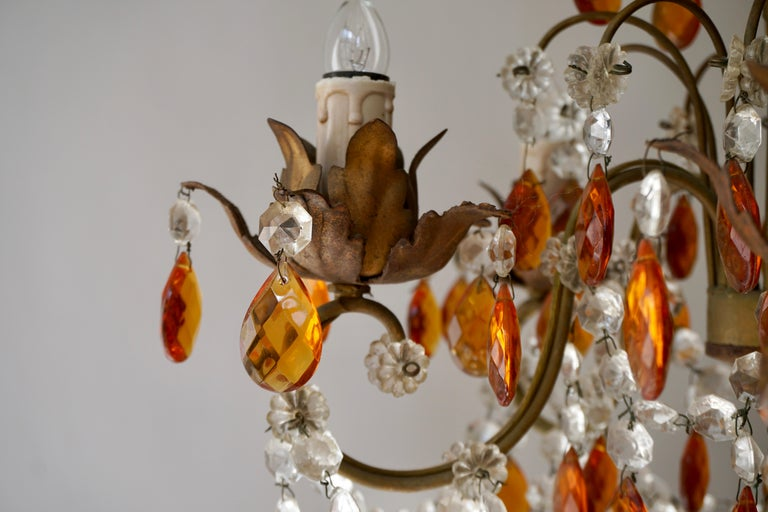 French Petit Amber and Crystal Beads Chandelier For Sale 2