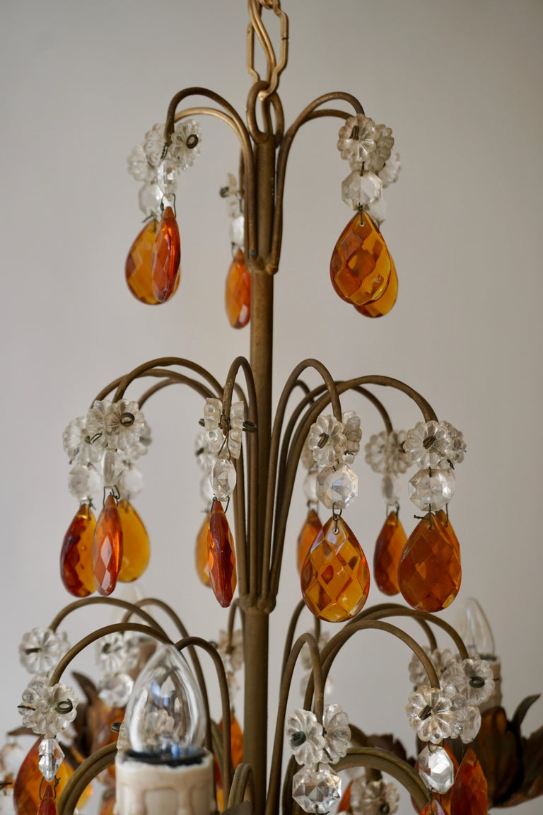 French Petit Amber and Crystal Beads Chandelier For Sale 3