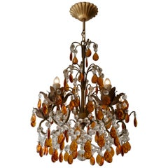 French Petit Amber and Crystal Beads Chandelier