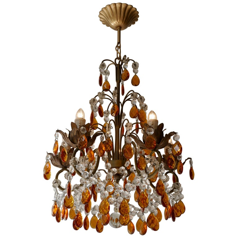 French Petit Amber and Crystal Beads Chandelier For Sale