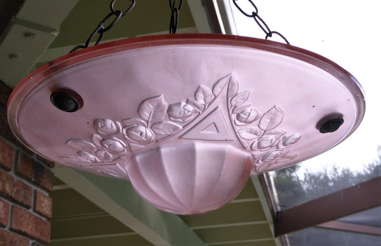 French Petit Art Deco Frosted Pink Glass Pendant 7