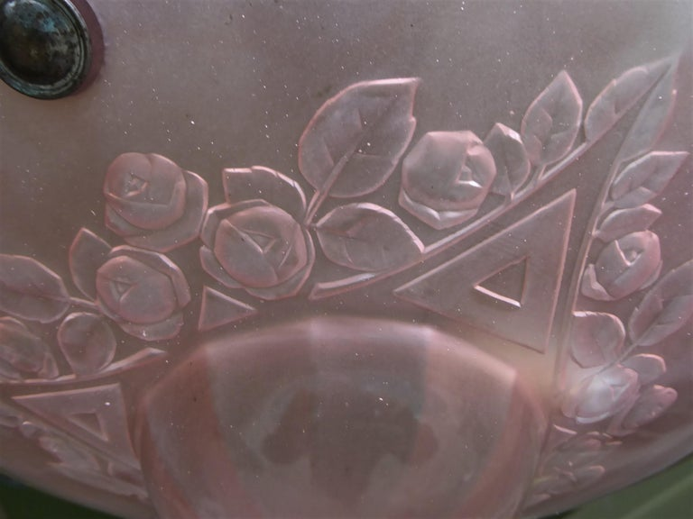 French Petit Art Deco Frosted Pink Glass Pendant 10