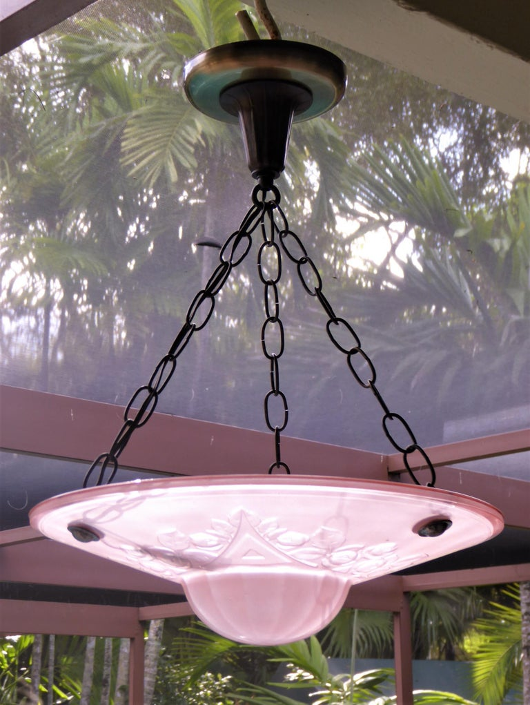 Mid-20th Century French Petit Art Deco Frosted Pink Glass Pendant