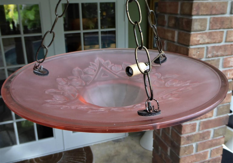 French Petit Art Deco Frosted Pink Glass Pendant 3