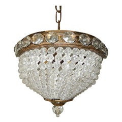 French Petit Crystal Beaded Dome Chandelier Flush Mount