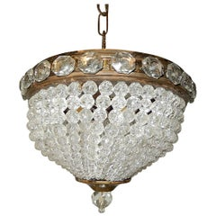 French Petit Crystal Beaded Dome Chandelier Flushmount