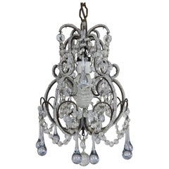 French Petite Crystal Beaded Frame Chandelier, circa 1920s