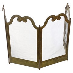 French Petite Fireplace Screen Hinged in 4 Sections with Handles, Ajustable