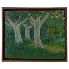 French Petite Green Landscape of Trees