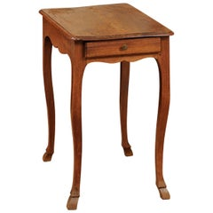 French Petite Louis XV Walnut Side Table, Mid-18th Century