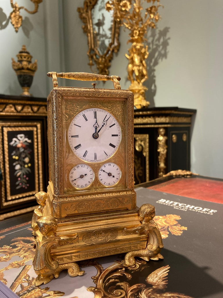 French Petite Sonnerie Gilt Bronze Carriage Clock by Grohé of Paris In Good Condition For Sale In London, GB