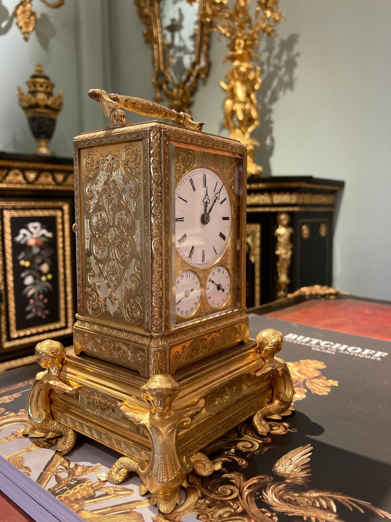 19th Century French Petite Sonnerie Gilt Bronze Carriage Clock by Grohé of Paris For Sale