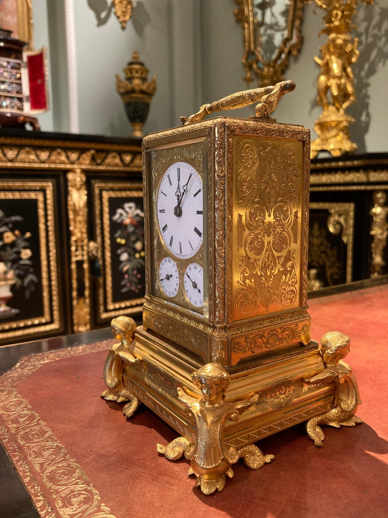 Brass French Petite Sonnerie Gilt Bronze Carriage Clock by Grohé of Paris For Sale