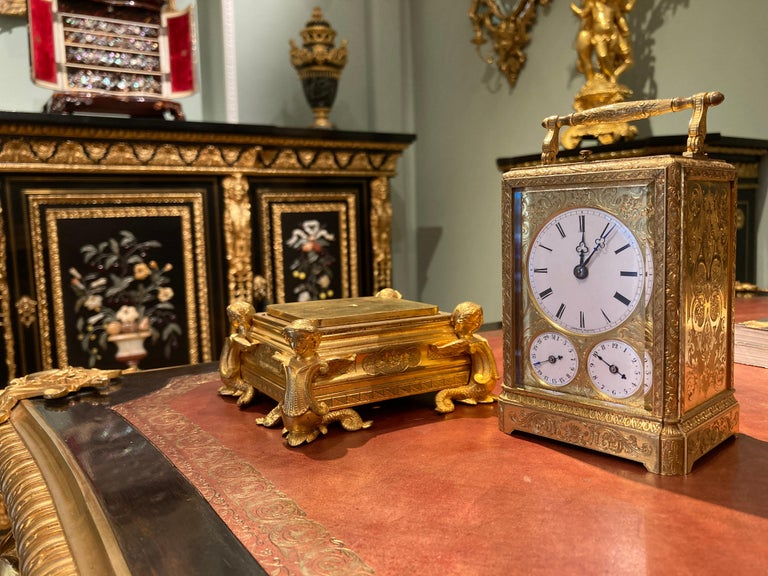 French Petite Sonnerie Gilt Bronze Carriage Clock by Grohé of Paris For Sale 2
