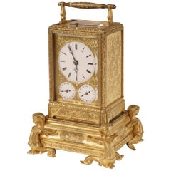 French Petite Sonnerie Gilt Bronze Carriage Clock by Grohé of Paris