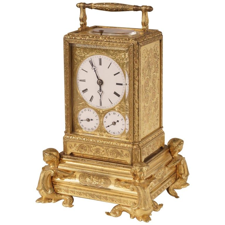French Petite Sonnerie Gilt Bronze Carriage Clock by Grohé of Paris For Sale