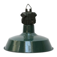 French Petrol Green Enamel Vintage Industrial Factory Pendant Light
