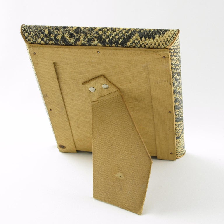 Mid-Century Modern French Picture Photo Frame 1960s Vinyl Snake Skin Pattern For Sale