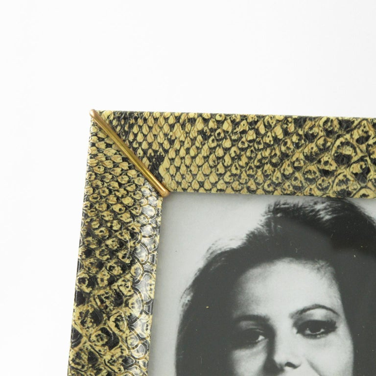 French Picture Photo Frame 1960s Vinyl Snake Skin Pattern In Good Condition For Sale In Atlanta, GA