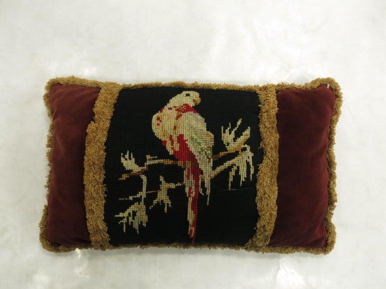 Aubusson French Pigeon Needlepoint Velvet Tassel Pillow For Sale