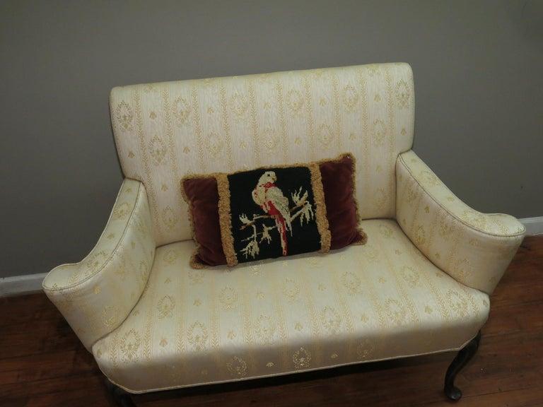 French Pigeon Needlepoint Velvet Tassel Pillow For Sale 1