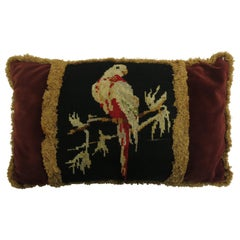 French Pigeon Needlepoint Velvet Tassel Pillow