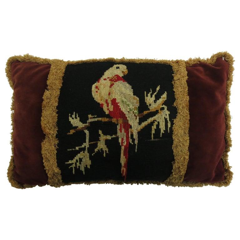 French Pigeon Needlepoint Velvet Tassel Pillow For Sale