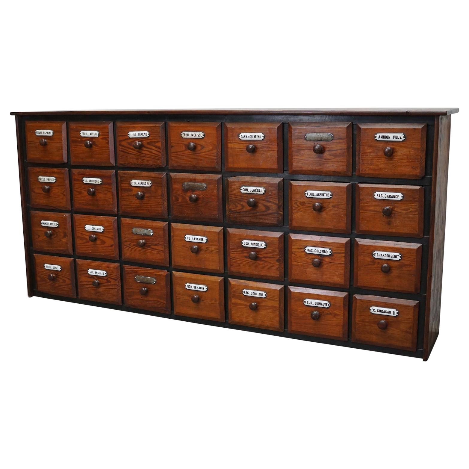 French Pine Apothecary Cabinet or Bank of Drawers, Early 20th Century