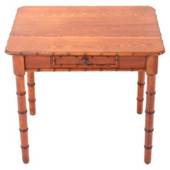 French Pine Art Nouveau Faux Bamboo Small Writing Table, 1900s