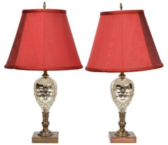 French Pine Cone Shape Cut Mercury Glass and Bronze Lamps, Early 20th Century