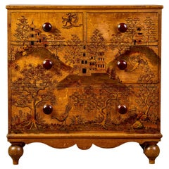 French Pine Four Drawer Chest with Hand Painted Asian Scene