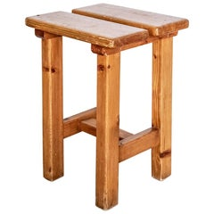 French Pine Stool in the Style of Charlotte Perriand