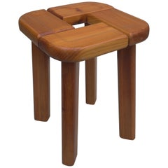 French Pine Stool in the Style of Pierre Chapo