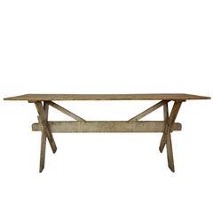 French Pine Trestle Table, circa 1900