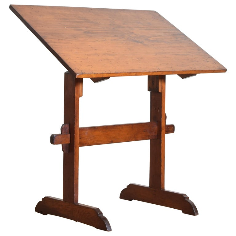 French Pinewood Adjustable Drafting Table or Desk, circa 1900 For Sale