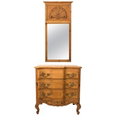 French Pinewood Chest of Drawers with Mirror